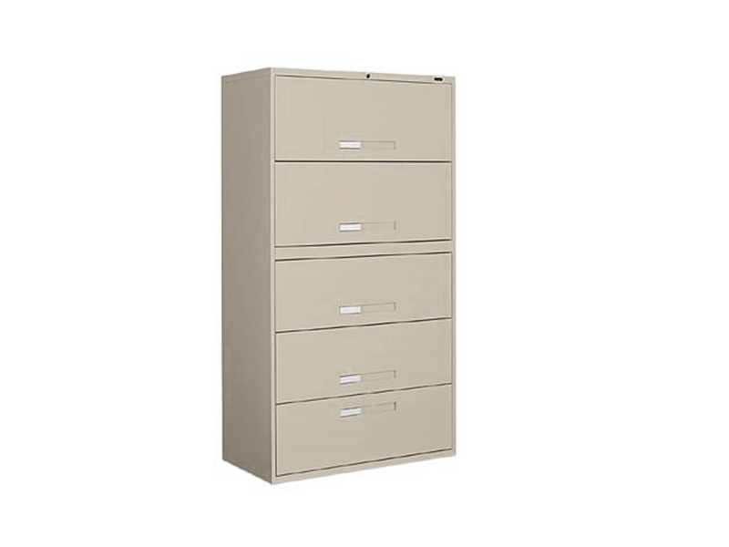 Beige 5 Drawer Lateral Filing Cabinet