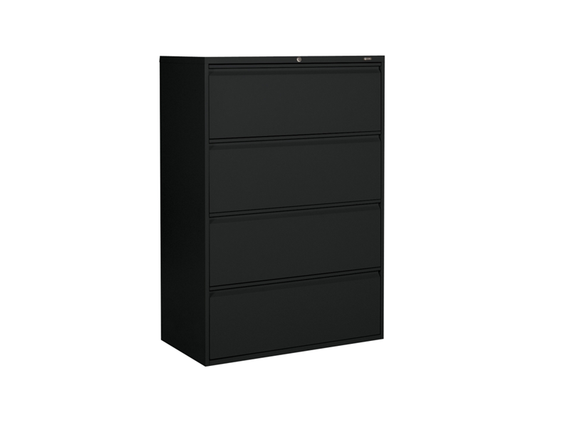 Black 4 Drawer Lateral Filing Cabinet