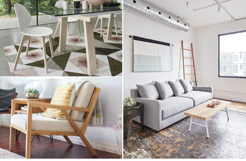 Top Left - Calligaris Basil Wood; Bottom Left - Gus* Modern Truss Chair; Right - Gus* Modern Flipside Sofa Bed