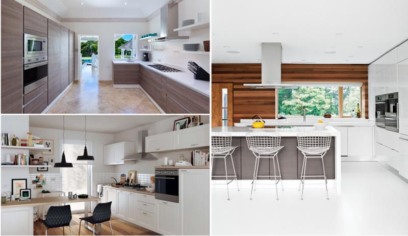 Top Left - Scavolini Evolution Kitchen; Bottom Left - Scavolini Colony Kitchen; Right - Scavolini Scenery Kitchen