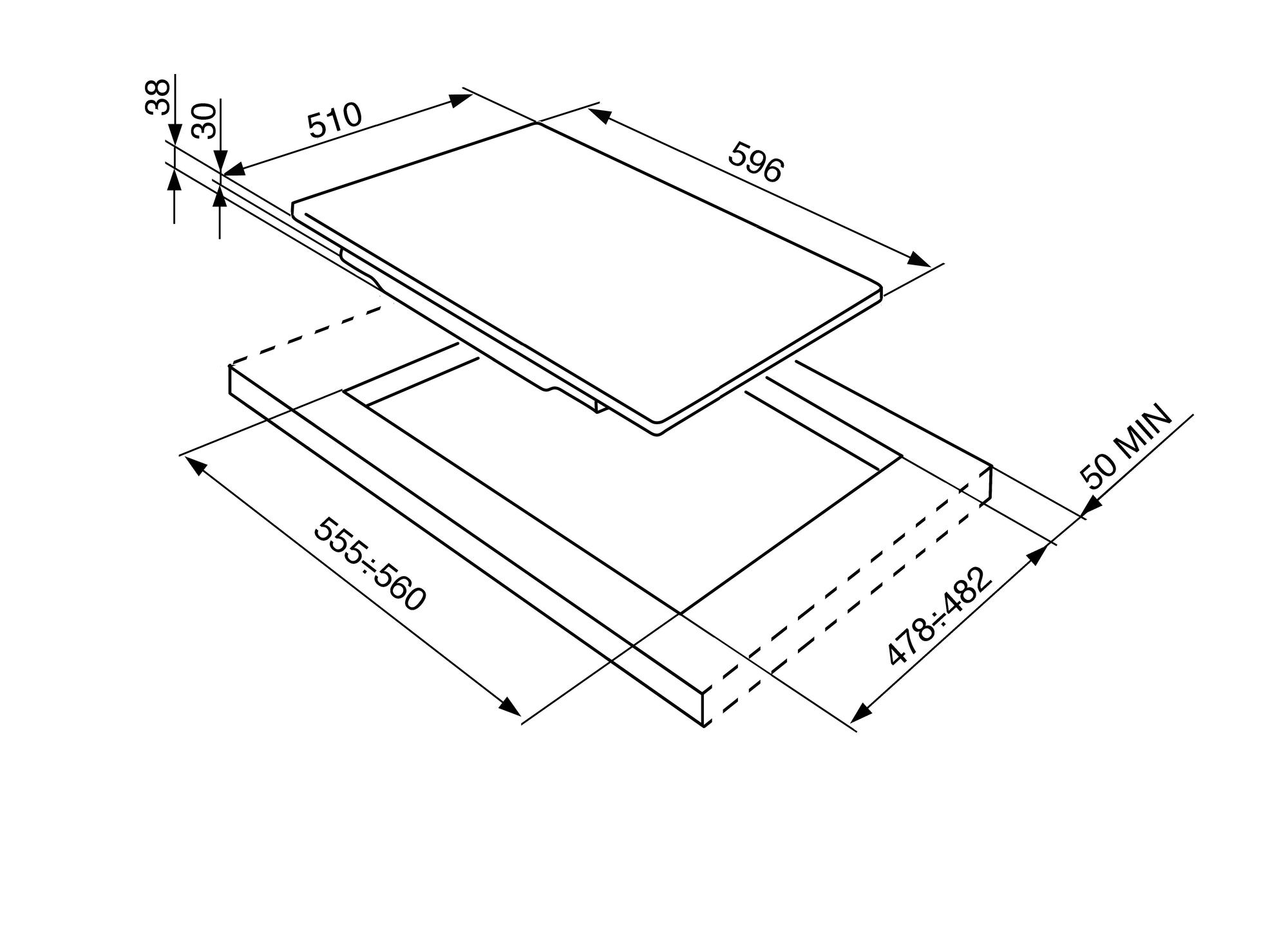 P64ES Smeg 60cm Stainless Steel Gas Hob Technical Drawing (in mm)