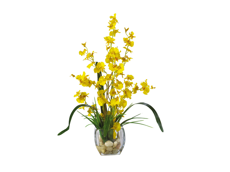 Yellow Dancing Lady Silk Orchids In Vase Dillon Amber Dane