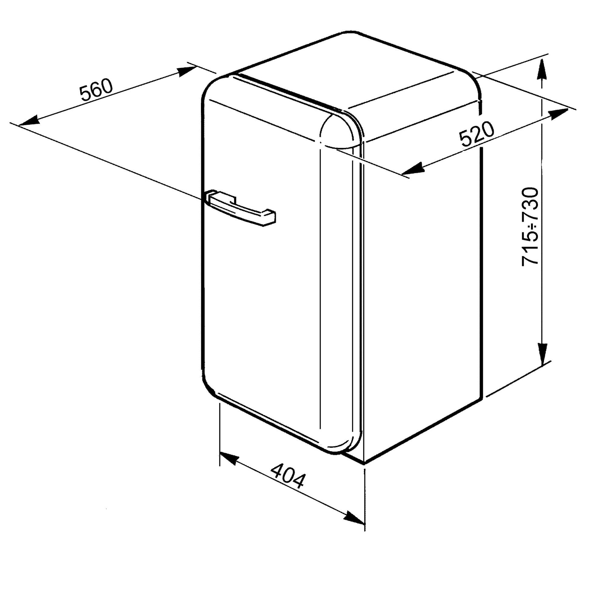 FAB5RUJ1 Smeg 40cm Single Door 50's Retro Style Minibar Fridge Technical Drawing (in mm)