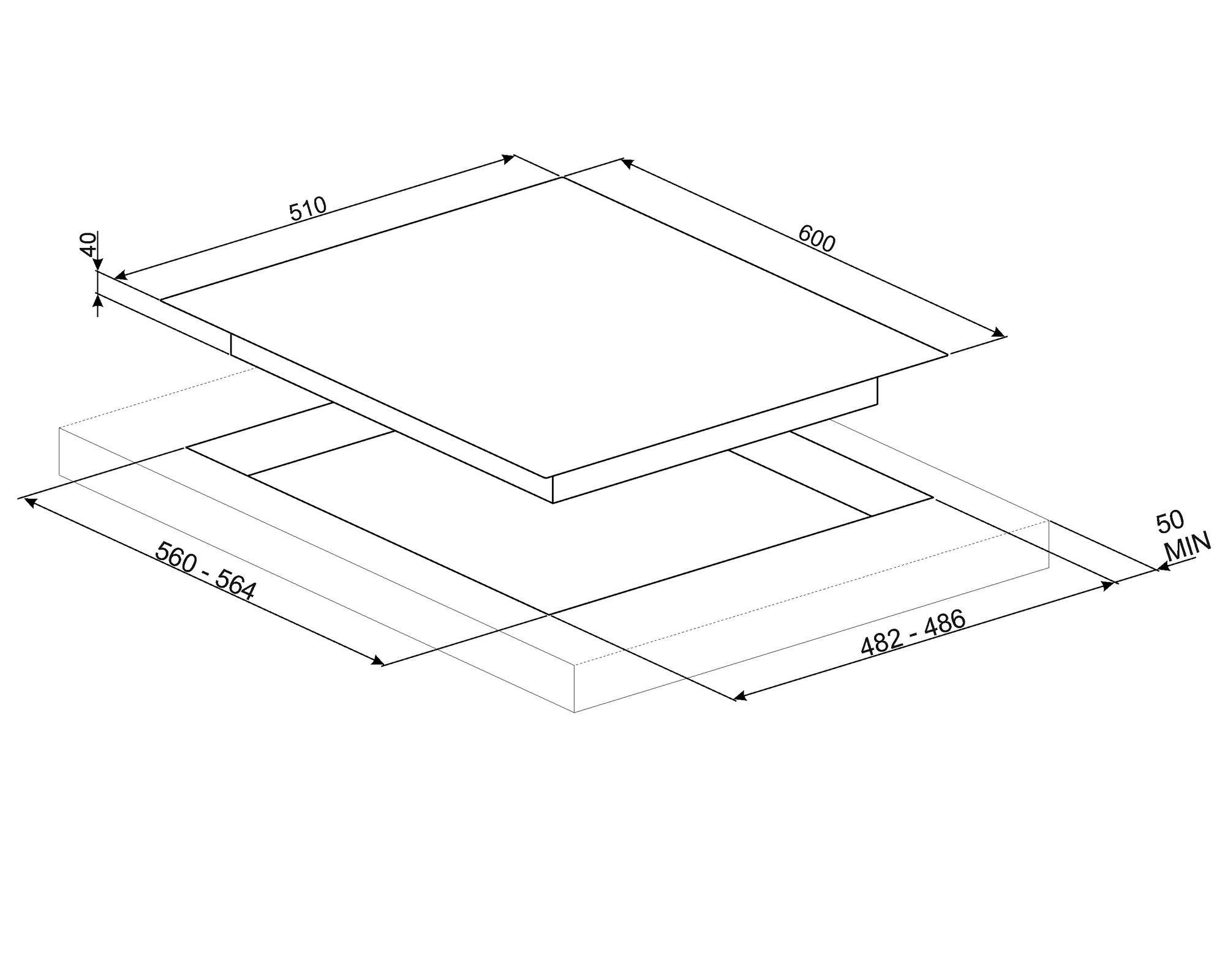 PV164CB Smeg 60cm White Ceramic Glass Gas Hob Technical Drawing (in mm)