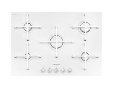 PV175CB Smeg 72cm White Ceramic Glass Gas Hob