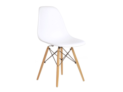White Shell Side Chair With Wooden Legs